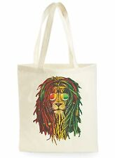 FUNNY RASTA LION REGGAE POSTER COOL SHOPPING CANVAS TOTE BAG IDEAL GIFT PRESENT