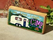 """Mini Wood Mountains Camper Live Loved Laugh Camping Shelf Sign Block 2.5""""X5"""""""