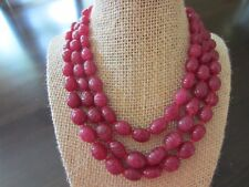 Antique Sterling Plated 3 Lines Ruby? Oval Leaves? Hand Carved CHUNKY NECKLACE