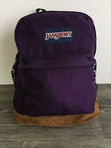 JANSPORT Backpack Vtg 90s Suede Leather Bottom School Book Bag Purple USA