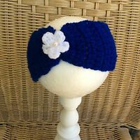 ROYAL BLUE handmade crochet headband with flower for baby girl - phot prop