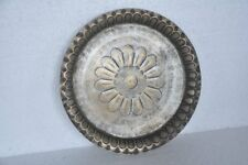 Old Brass Handcrafted Fine Quality Flower Engraved Tray , Rich Patina