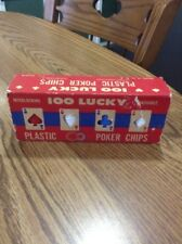 Vintage 100 Lucky Interlocking Plastic Poker Chips,Made in USA America Excellent