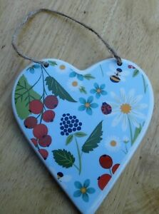 Wall Plaque Ceramic Heart Floral
