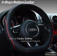 New Genuine Leather D Shaped Sports Car Steering Wheel Cover Black Red 37 - 38cm