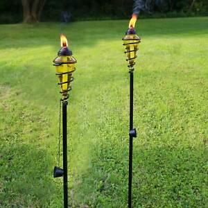 Sunnydaze 2-in-1 Swirling Metal Glass Outdoor Lawn Torch Set of 4 - Yellow