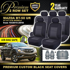 Premium Black Seat Covers MAZDA BT-50 UR Dual Cab 2ROW 10/2015-18 BT50 XT GT XTR