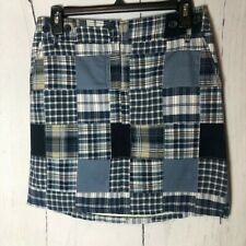 Loft Skirt Size 2 Petite Blue Madras Patchwork Mini Cotton Pockets Button zip