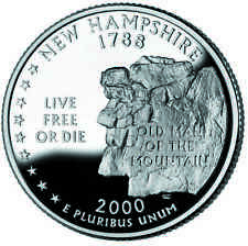 2000 S SILVER GEM PROOF NEW HAMPSHIRE STATE QUARTER 90% SILVER