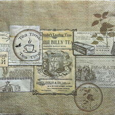 20 Vintage Party Paper Napkins Lunch for Decoupage Labels Beige
