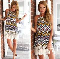 Backless Boho Hippie Dress Loose Maxi Printed Bohemian Beach Summer Tunic Dress