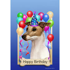 Italian Greyhound Fawn & White Happy Birthday Flag