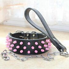 Pink Spiked Studded Leather Dog Collar+Leash Lead for Pit Bull Bully Boxer