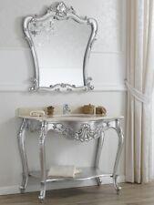 Consolle e specchio Eleonor stile Barocco Moderno arredo bagno foglia argento ma