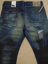 PRPS BARRACUDA Straight Smeared Paint Dark Blue Men Jeans 42 x 34 Orig.$300+SALE