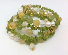 Wickelarmband aus Memory-Draht, Edelsteinen & Perlen