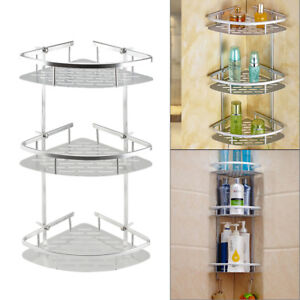 3 Tiers Corner Storage Shower Rack Shelf Organiser Bathroom Caddy Basket Tidy