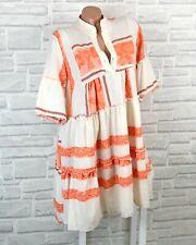 Italy Hippie Boho Hängerchen Tunika Kleid Leinen Look Azteken 36 38 40 42 K637