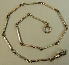 Antico 14ct DUE COLORI ORO Fancy Orologio da Taschino Albert CATENA C. 1920 10.6 GRAMMI