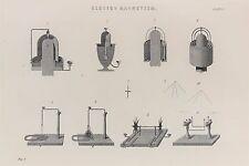 Electro il magnetismo-Antico B/N stampa litografia-ENCICLOPEDIA c19th