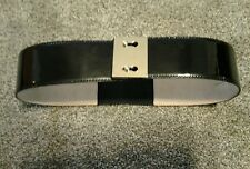 Womens HELIOS & LUNA Black Patent Leather Wide Belt Sz. S. Small Brass Hardware