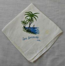 #17 Vtg Handkerchief Hanky Los Angeles Ca. Palm Trees Sail Boat Beach Ocean Cute