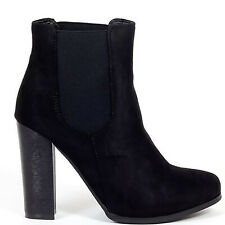 BLACK FAUX SUEDE CHELSEA BLOCK HIGH HEELED HEELS ANKLE BOOTS SHOES SIZE UK 7 8