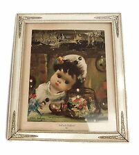 "Jean Calogero Italian American Artist Vintage Framed Print ""Doll with Fish Bowl"""