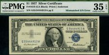 1957 Plain 1$ Mismatched Sn Error 4913A Choice Pmg Vf35 Epq