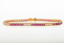 Vintage Retro $10,000 8ct Natural RUBY VS F Diamond 18k Gold Tennis Bracelet