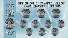 Set of Die Cast Metal Blazer Buttons EE14928-Set of Gun Metal Colour Crown Crest