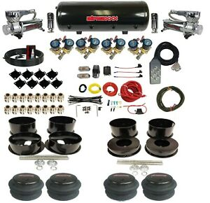 """Complete 1/2"""" Valve Air Ride Suspension Kit 8 Gal Tank For 1971-96 Chevy B-Body"""