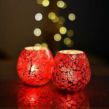 Mosaic Moroccan Red Glass Crackle Tealight Candle Holder (Set of 2) #SJ241