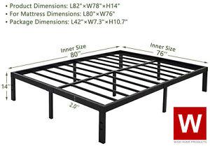 "Standard King Heavy Duty Steel Bed Frame - Metal Platform Beds -  Height 14"""