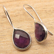 Natural AMETHYST Pear Gemstones Drop Earrings 925 Silver Plated Over Copper