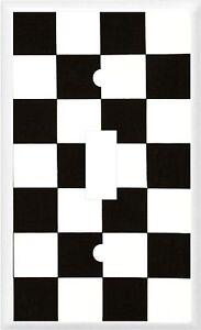 RACING CHECKERED FLAG BLACK & WHITE CHECKS  LIGHT SWITCH COVER PLATE
