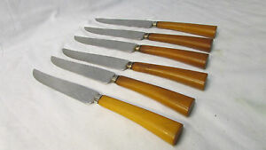 E.Parker and Sons ~ 6 Stake Knives ~ Bakelite Handles ~ Sheffield, England