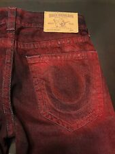 TRUE RELIGION BRAND JEANS MENS RED SKINNY CONTINENT JEANS SZ 30