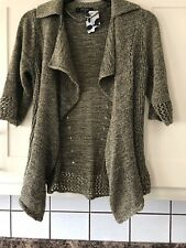 New Ladies Size 12 Olive And Gold Waterfall Cardigan