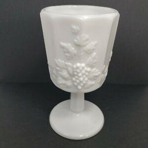 "6"" Vintage WESTMORELAND Paneled Grape Milk Glass Water Goblet"