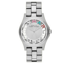 NEW MARC JACOBS HENRY SILVER ,MULTI COLORED GLITZ DIAL,BRACELET  WATCH MBM3262