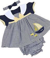 BabyPrem Baby Girls Clothes Dresses Blue Lemon Sailor Summer Dress Set NB - 6m 3-6 Months