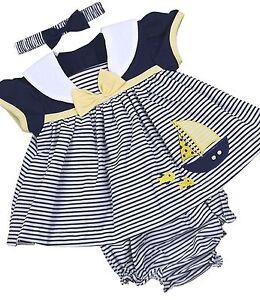 BabyPrem Baby Girls Dress Navy Blue Summer Nautical Sailor Outfit Set NB - 6m