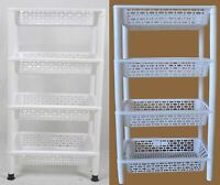 New 4 Level Plastic Shelf Stand Storage Tray Home Storage Organizer White/Blue