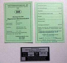 ABE Betriebserlaubnis SIMSON S 51 B 1 ORIGINAL gestempelt & Typenschild DDR Stil