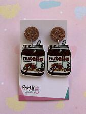 Nutella Style Dangle Earrings, Surgical Steel Stud, 16mm Bronze Glitter Acrylic