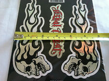Flaming Chrome Skull Epoxy 3-D Domed Sticker Decal Set for  Tool box & Cabinets