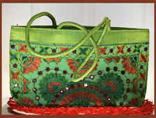 Embroidered silk  tote bag, purse, shoulder bag, green mirror work from India!!