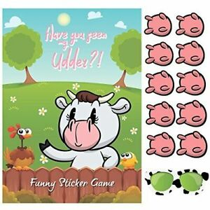 Pin The Udder On The Cow Birthday Party Game Kids Unisex Pin Up Board Games