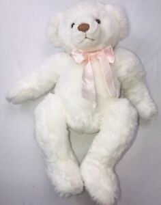 APPLAUSE Plush Breast CANCER Awareness White Bear Embroidered Pink Bow 15""
